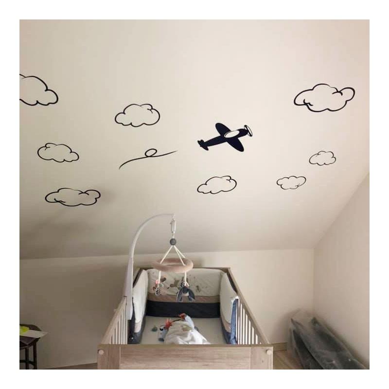 stickers muraux avion et nuages