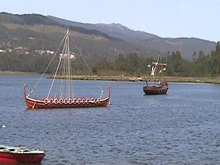Longboats in Catoira harbour for the annual festival