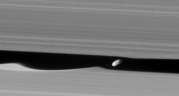 """Cassini cattura Dafni: incontro ravvicinato con la luna """"pastore"""" di Saturno"""