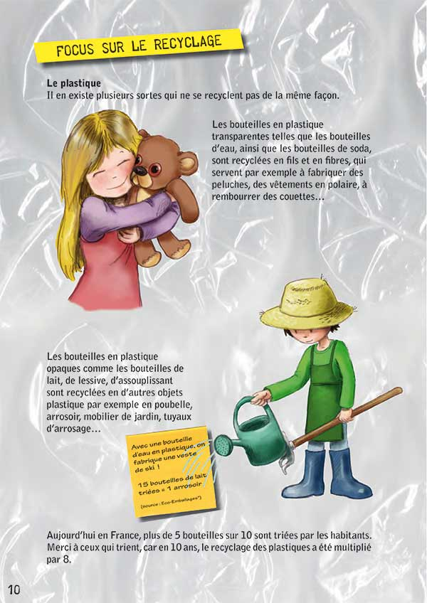 enfants et déchets recyclés