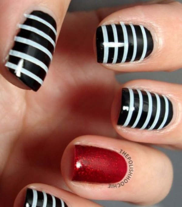Awesome Two Tone Nails In Black And Silver