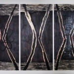 Nro 020316 2016, sekatekniikka vanerille, 244 x 630cm