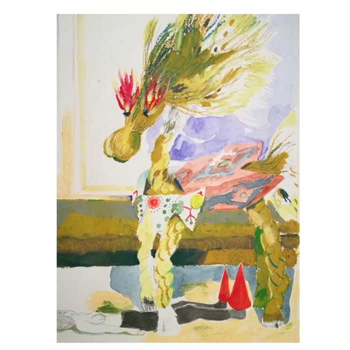 Hanna Hyy: Emotional Labor for Spring, 2019, A4, akvarell och oljepastell på papper