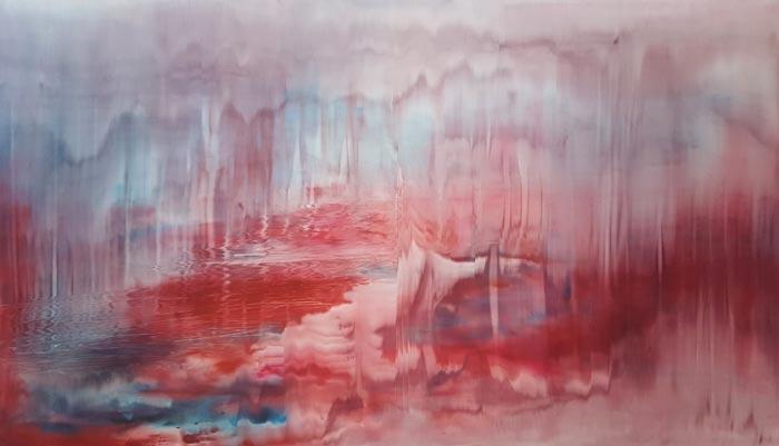 Anu Haapanen, Red Forest, 2018, öljy mdf-levylle, 104 x 180 cm