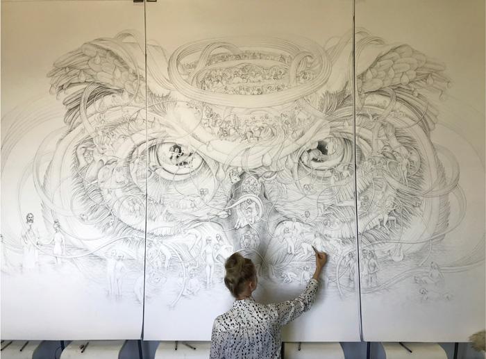 Eeva Honkanen: The Owl's Head, NARS -residenssi, New York (tussipiirros, 240cm x 390cm, 2020)
