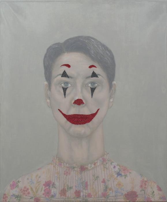 Päivi Eskelinen, Mielikuvia XIII, 2020, öljy ja kirjonta kankaalle, 60 x 50 cm