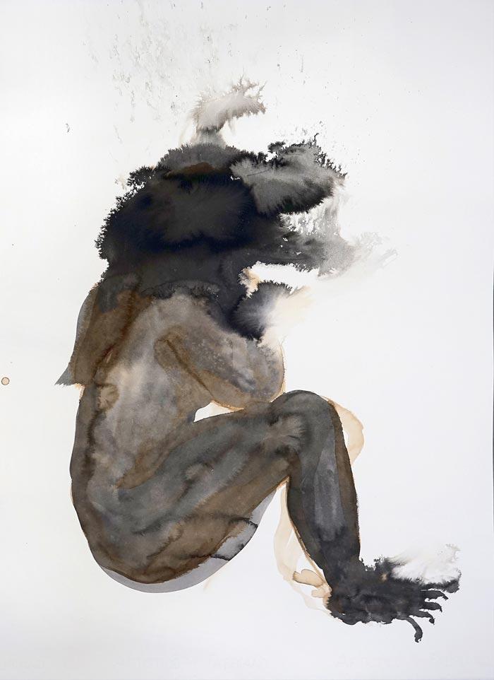 Aura Hakuri: Werewolf, 75 x 55 cm, tussi paperille, 2019