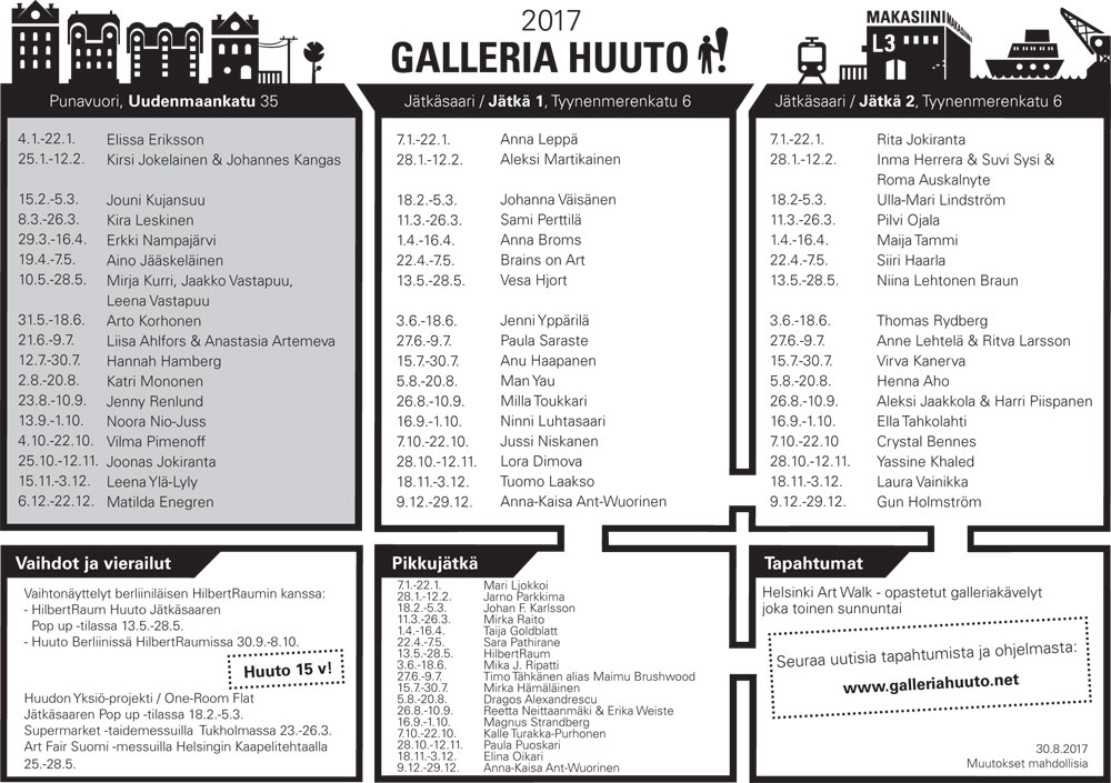 Huuto näyttelykalenteri 2017