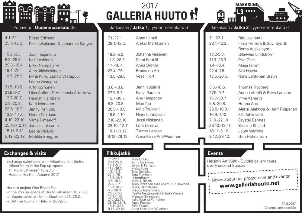 Huuto exhibition program 2017