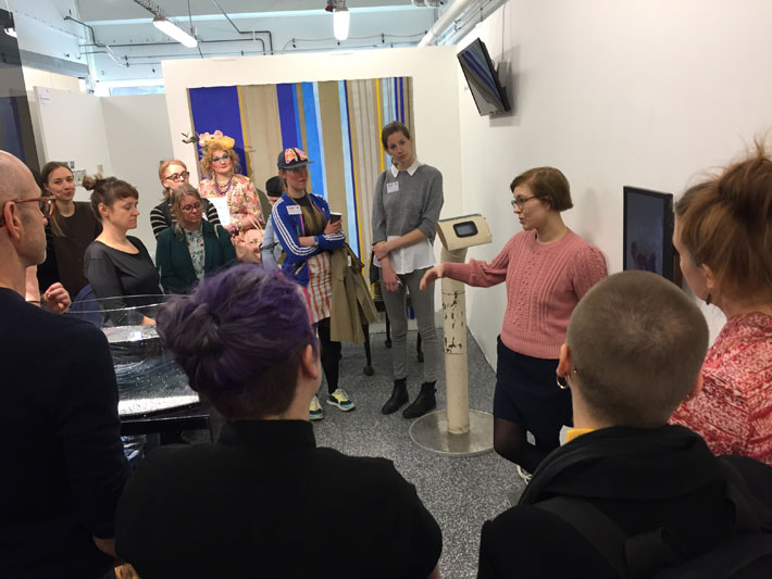Marja Viitahuhta with the Supermarket PNP group(Evidence Room - Galleria Huuto in Supermarket 2018)