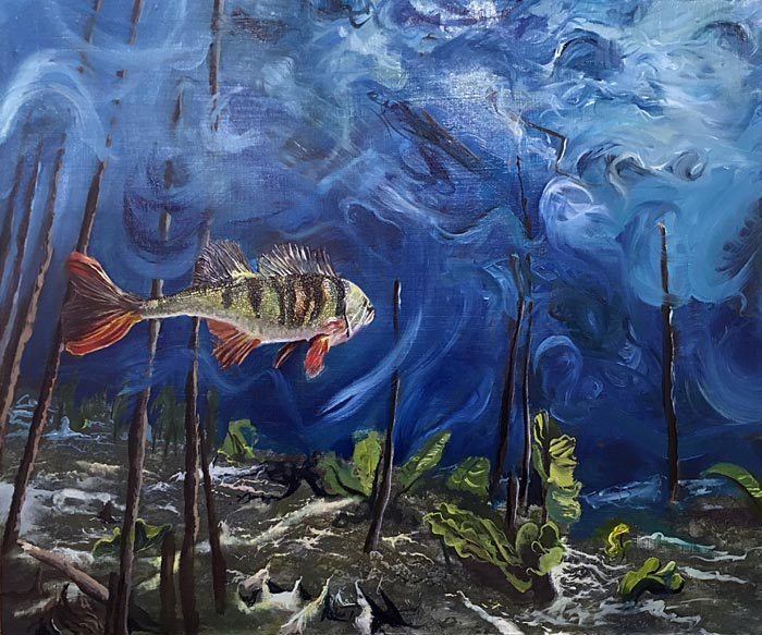 Jesse Avdeikov, mr. Fish doesn't know what the future will bring and doesn't remember the past, 2018, öljy kovalevylle, 50 x 60 cm
