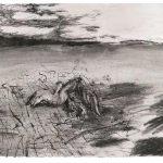 Jussi Pyky: nimetön, hiili ja muste paperille, 30,5 x 44 cm, 2019