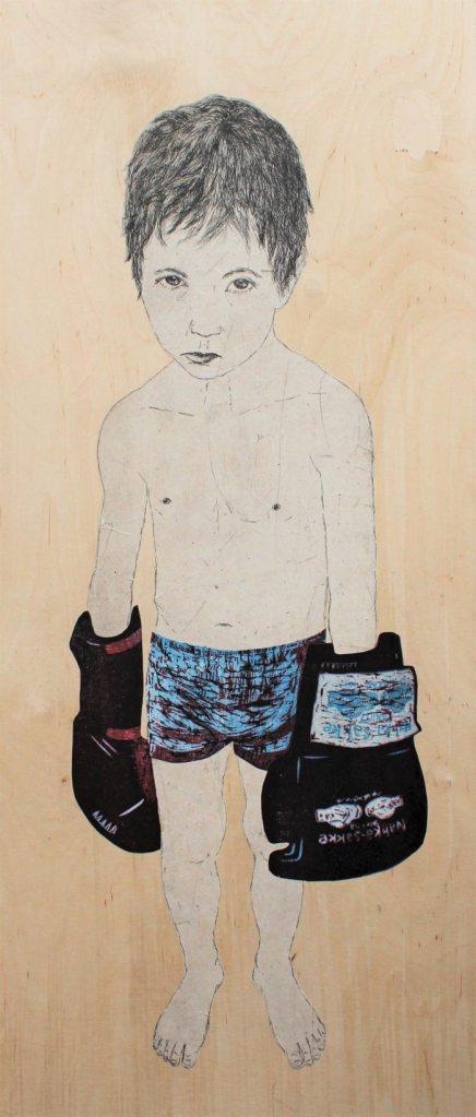 Laura Pohjonen, Eye of the Tiger, 2017, etsaus, puupiirros, chine colle vanerille, 100cm x 50cm