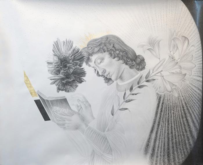 Henni Kitti: Mineraali ja Botticellin enkeli; lyijykynä ja kulta paperille; 105 x 87 cm; 2016 – 2018