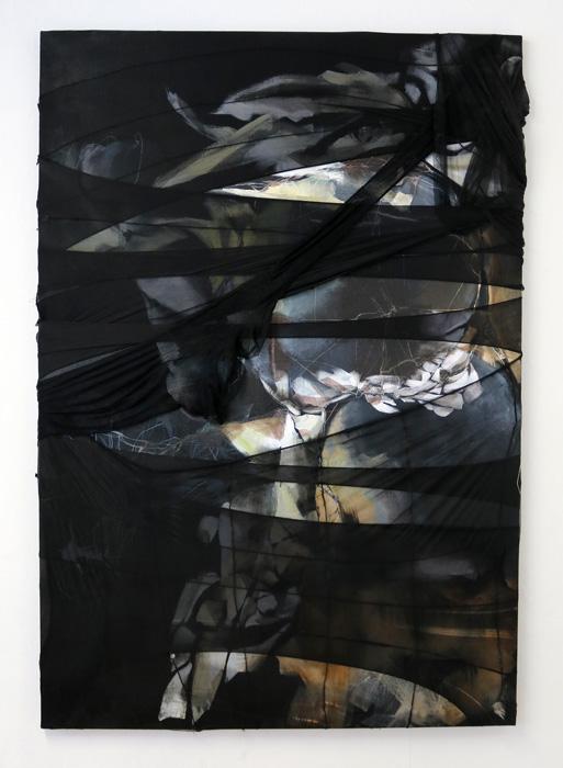 Päivi Allonen: Jonain toisena päivänä, 2021, akryyli ja nylon kankaalle, 160 x 110 cm