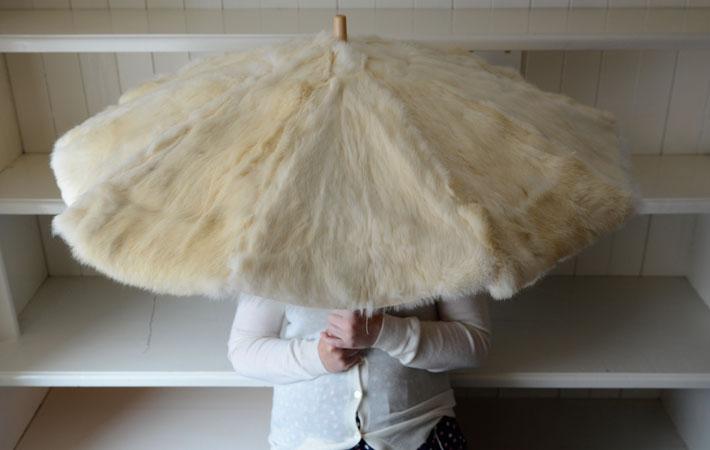 Fur Umbrella Open –  Rabbit fur and wooden frame 70 cm x 90 cm, 2013