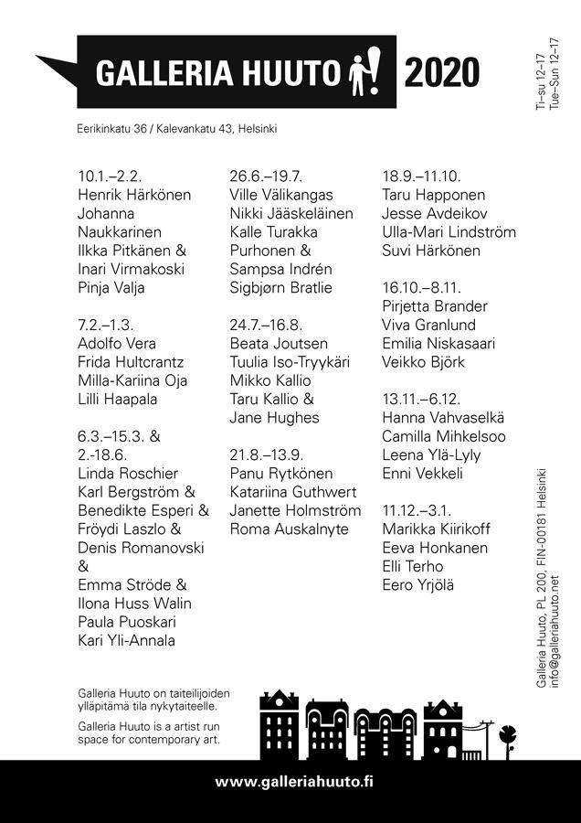 Gallleria Huudon näyttelykalenteri 2020