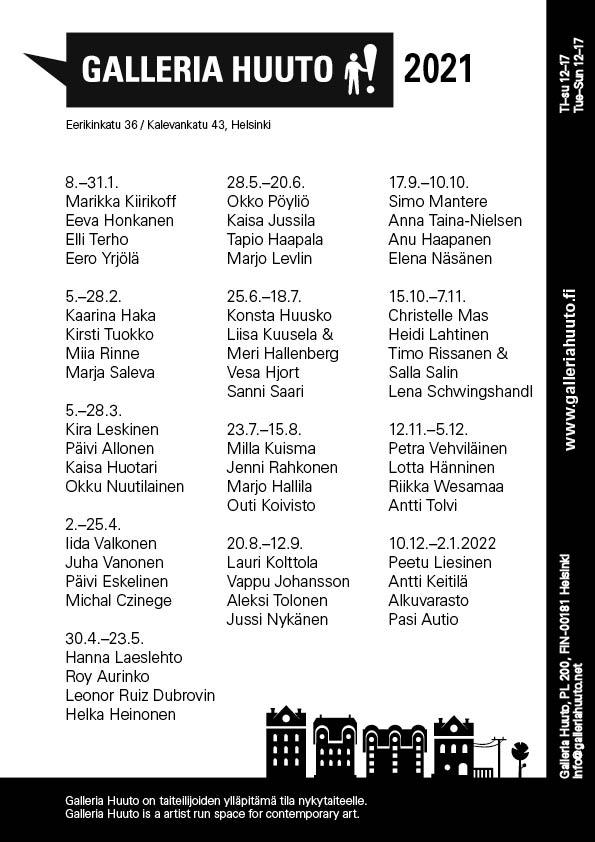 Galleria Huudon näyttelykalenteri 2021