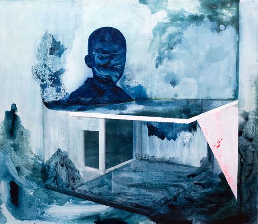 Galleria merellä, tussi, öljy ja akryyli levylle, 122cm x 140cm, 2014-2015