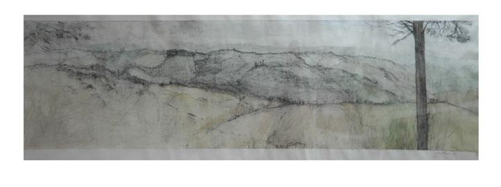 Salla Järvinen: Kaksi matkaa. Ensimmäinen matka: San Geminiano, Toscana. Akvarellilyijykynä, sepiakynä ja akvarelli paperille 2008.