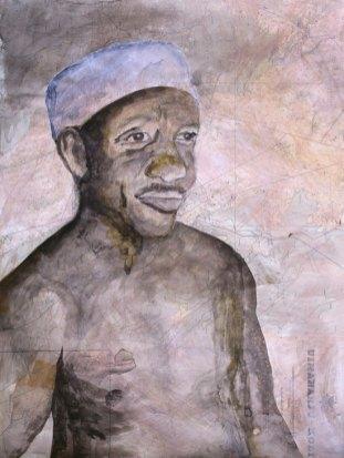 ELÄMÄSI ON KUIN MARKKINAPAIKKA (YOUR LIFE IS LIKE A MARKET PLACE), akvarelli, muste, grafiitti ja hiili merikartalle (watercolor, ink, graphite and charcoal on marine chart), 66 x 50cm, 2016