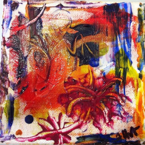 The Lion Sleeps Tonight - Acrylic & Mixed Media on Canvas 5 x 5 inches