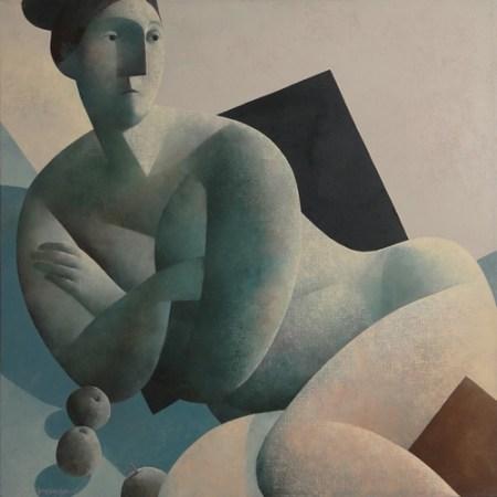 Liggende vrouw met appels