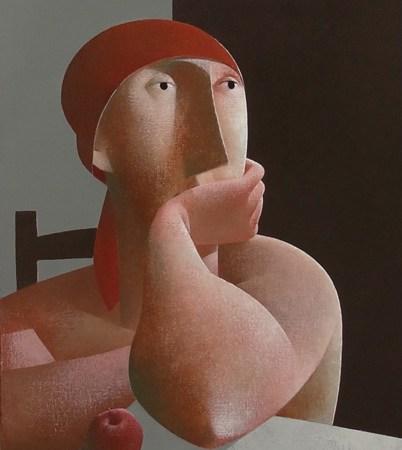 Vrouw met rode appel