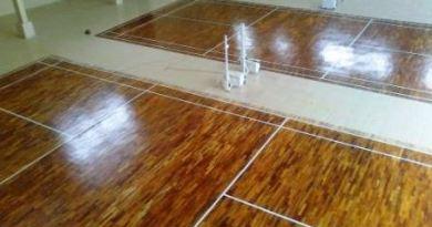 Pemasangan Parket Lantai kayu Gedung Serbaguna Tasik Malaya