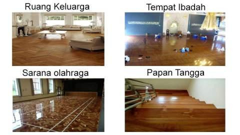 Lantai kayu jati yang sudah terpasang