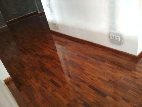 contoh pemasangan parket kayu Jati grade A