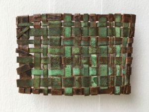 "Sign, 2014 3"" x 2"" Woven copper, text"
