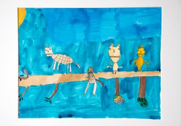 Cats on a Tree - work on paper by Aba Garbrah