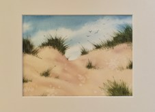 """The Approach, 2020 Watercolor 6"""" x 8"""" matted in 8"""" x 10"""" frame $90.00"""