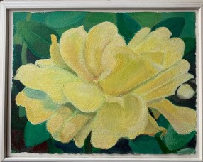 "Acrylic on watercolor paper 13"" x 17"" in white frame $275.00"