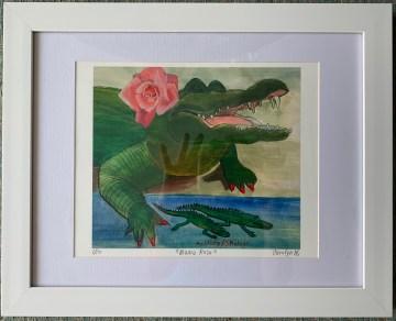 "Giclée print 14"" x 11"" in white frame $120.00"