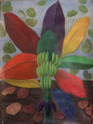 "(Banana Tree Pinwheel with Flower in Paradise) Giclée on watercolor paper 21"" x 17"" in white frame $250.00"