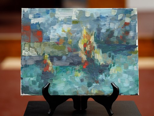 Plein Air Painting of Pond & Foliage, 2018 Oil on canvas board $125.00