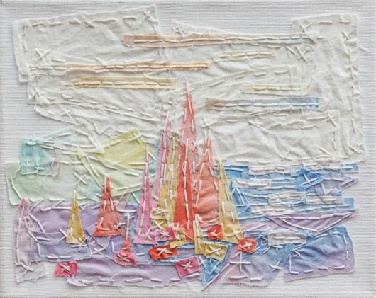 Plein Air Painting of Pond & Foliage, 2018 Dyed cloth & thread on canvas $125.00