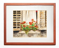 Annecy Window Box, 2006 Watercolor Matted & framed $50.00