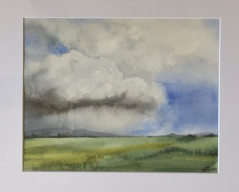 """Ominous, 2019 Watercolor 8"""" x 10"""" matted and framed $160.00"""