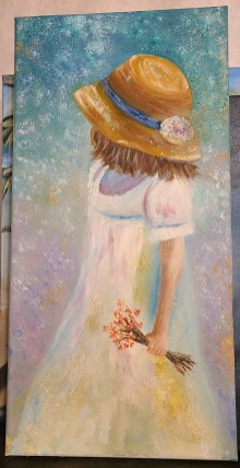 """Girl with Flowers in Hand Oil on canvas 10"""" x 20"""" $135.00"""
