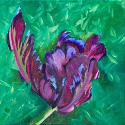 Parrot Tulip in Grass Oil on canvas NFS