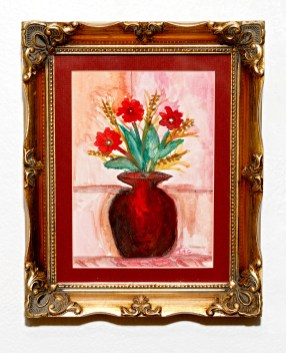 Red Cosmos Watercolor Matted & framed $95.00