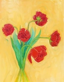 "Fire Tulips Oil on panel 12"" x 14"" $140.00"