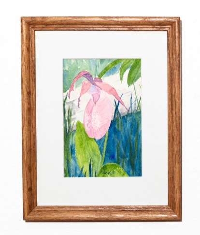 Slipper Watercolor Matted & framed $100.00