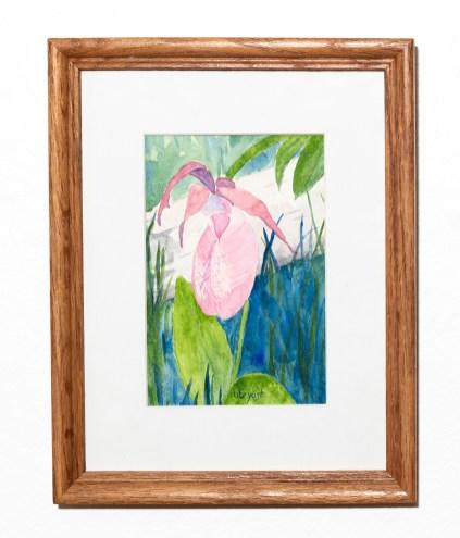 Slipper Watercolor Matted & framed $100.00