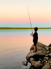 "James Correia Boy Fishing Photograph on canvas 20"" x 30"" $235.00"