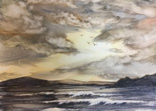 Golden Glow, 2020 Watercolor Matted, framed $155.00