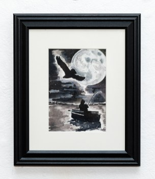 Fish Moon Watercolor Matted and framed $85.00